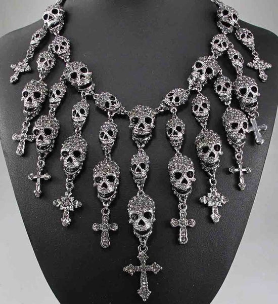 Big Goth Skeleton Skull Cross  Necklace Jewelry - Scruffy Chic