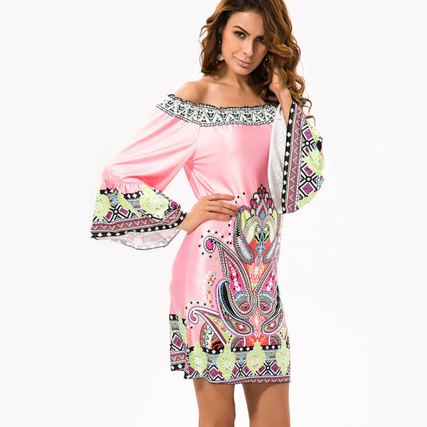 Boho Chic Bohemian Flare Off Shoulder Dress Beach Ladies Women Floral Boho Dress - Scruffy Chic