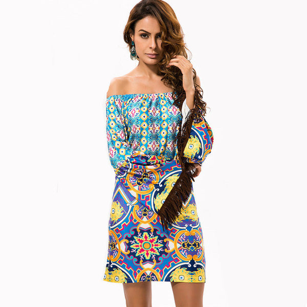 Bohemian Flower Print Dress Beach Summer Night Club Party Dress - Scruffy Chic