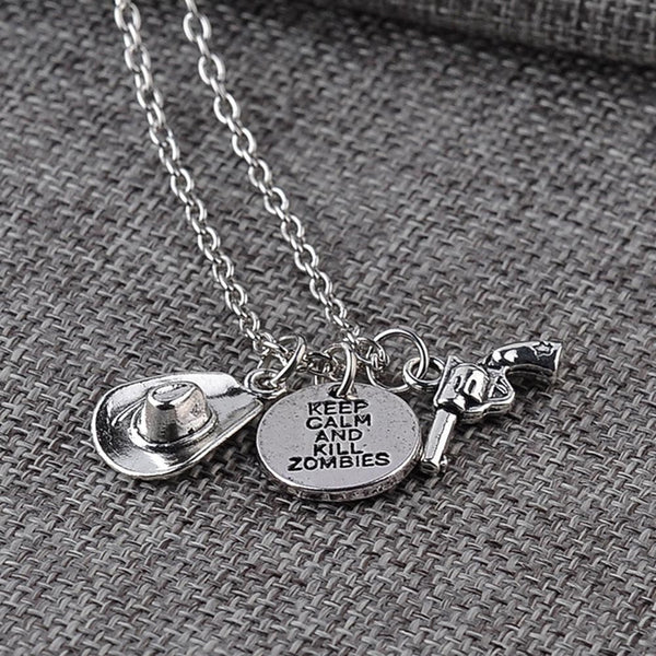 Walking Dead Keep Calm And Kill Zombies Silver Necklace - Scruffy Chic