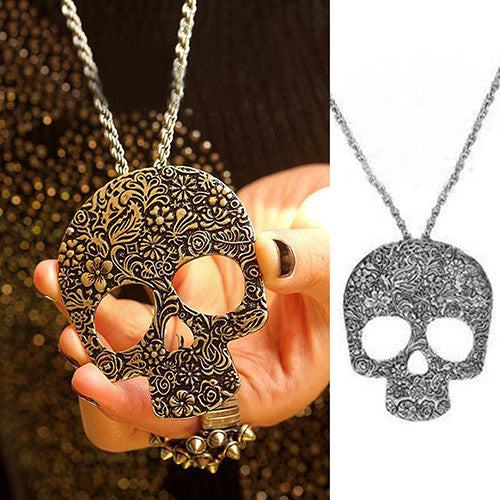 Big Vintage Gothic Carved Flowers Skull Pendant Chain Necklace - Scruffy Chic