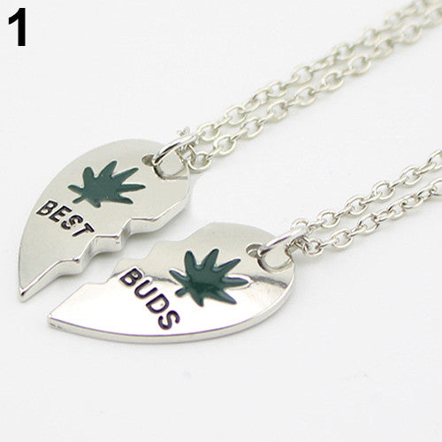 Best BUDS Leaf Heart Pendant Necklace - Scruffy Chic