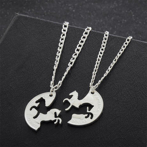 Horse Puzzle Necklace Best Friend Pendant Necklaces Silver Plated Charm - Scruffy Chic