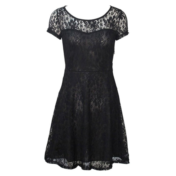 Floral Lace Dress Short Sleeve Party Dress Blue Red Black Mini Dress - Scruffy Chic