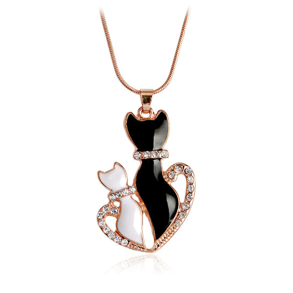 Bejeweled Cat Necklace Mommy & Kitten Necklace - Scruffy Chic