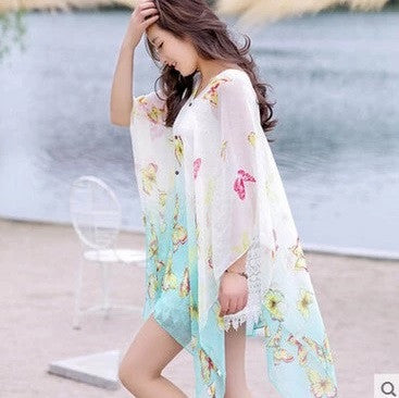c7359b1ebd427 Boho Chic Butterfly Summer Women Floral Bikini Cover Up Sexy Swimwear Beach  Cover Up Bikini Dress ...