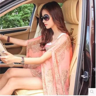cc75f4cf8811a ... Boho Chic Butterfly Summer Women Floral Bikini Cover Up Sexy Swimwear  Beach Cover Up Bikini Dress ...