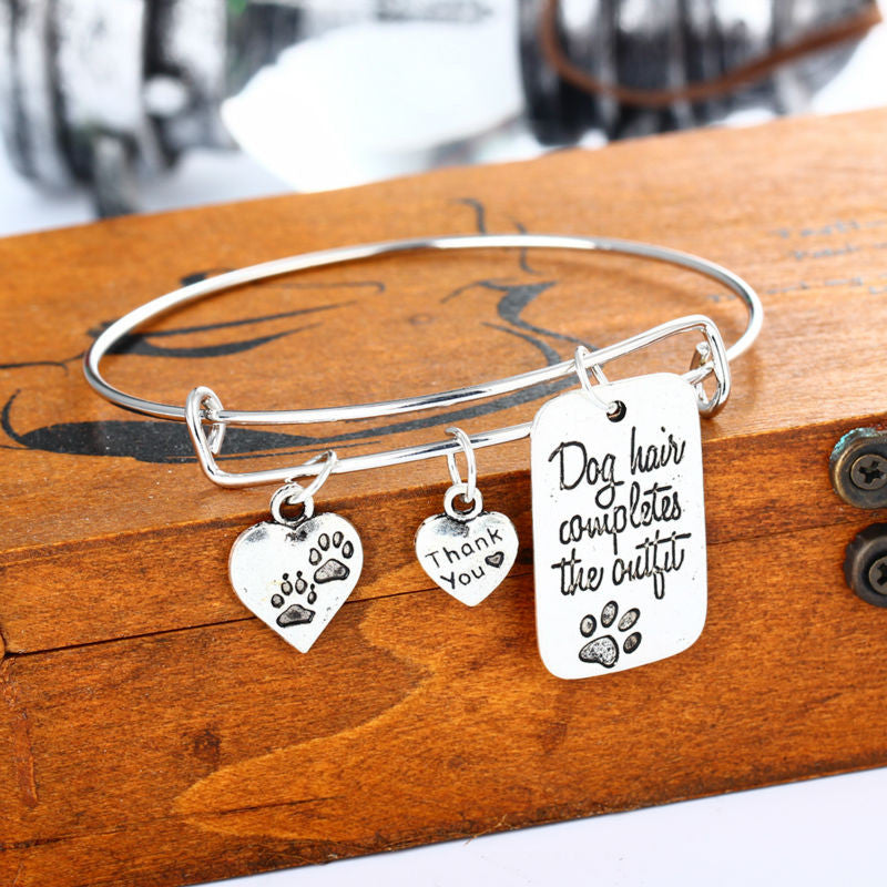 Dog Hair Completes the Outfit Paws Bangle Dog Footprints Heart Bracelet Jewelry - Scruffy Chic