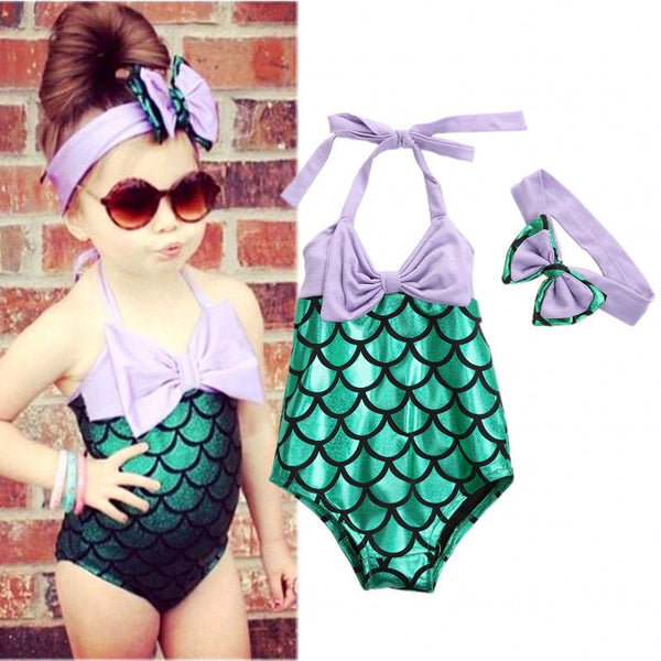 Little Girls Mermaid Swimsuit Purple Green Mermaid One Piece Kids Swimwear Headband Costume Bathing Suit - Scruffy Chic
