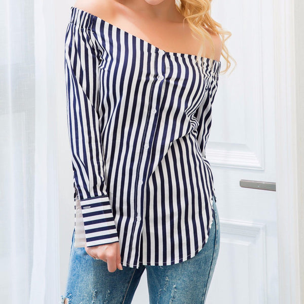 Sexy Off Shoulder Stripes Blouse Shirt Top - Scruffy Chic
