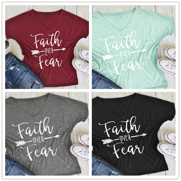 Faith over Fear T-Shirt V Neck Tee Shirt - Scruffy Chic