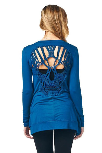 Skull Hollow Out Knitted Long Sleeve Sweater Free Shipping - Scruffy Chic