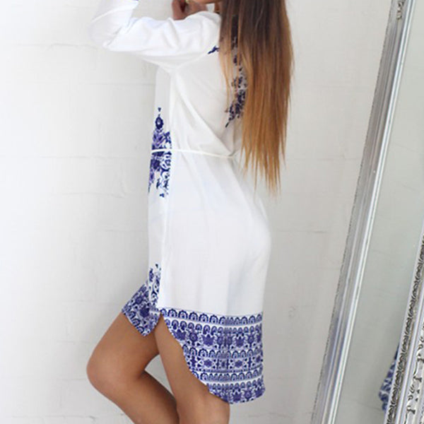 Blue White Willow Porcelain Pattern Dress - Scruffy Chic