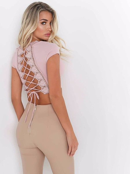 Sexy Back Lace Blouse Shirt Cross Tied Up Crop Top - Scruffy Chic
