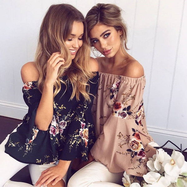 Boho Floral Chic Women's Sexy Off Shoulder Long Sleeve Blouse Shirt - Scruffy Chic