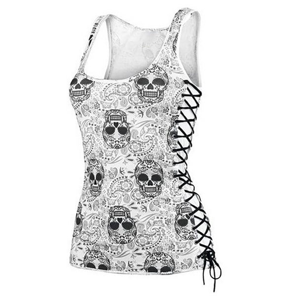 Skull Head Design Tops Sleeveless White T Shirts Camisole Tank Top - Scruffy Chic