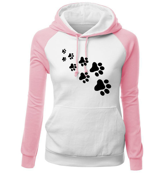 PAW Print HOODIE Sweatshirt CAT PAWS DOG PAWS Animal Lovers T-Shirt - Scruffy Chic