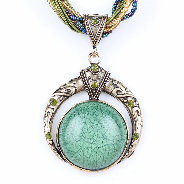 Vintage Colorful Boho Style Pendant Necklace - Scruffy Chic