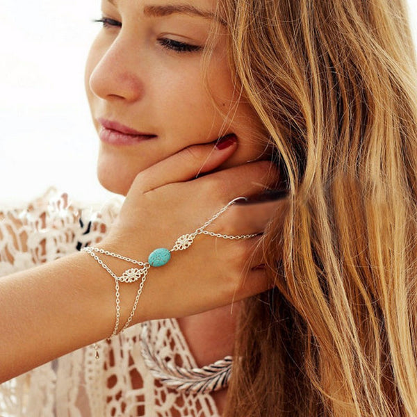 New Boho Chic Tassel Chain Bracelet Bangle Slave Finger Chain Hand Harness Silver - Scruffy Chic