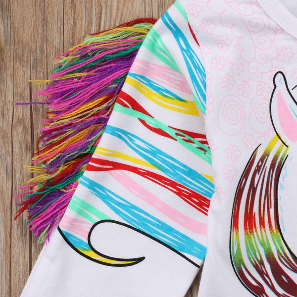 Toddler Kids Fringe Unicorn Long Sleeve Tee Shirt - Scruffy Chic