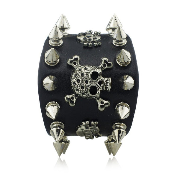 Gothic Spikes Rivet Skeleton Skull Punk Biker Wide Cuff Leather Bracelet - Scruffy Chic