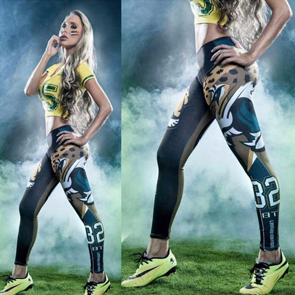 Football Leggings Fitness Sports Leggings Football Sportswear Bodybuilding Pants 3D Printing Workout Pants - Scruffy Chic
