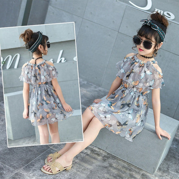 Flower Girl Dress Summer Chiffon Kids Dress Floral Children Clothing Princess Party Dress - Scruffy Chic