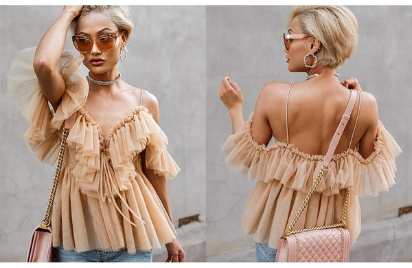 Vintage Off shoulder Ruffle Backless Blouse Mesh Shirt - Scruffy Chic