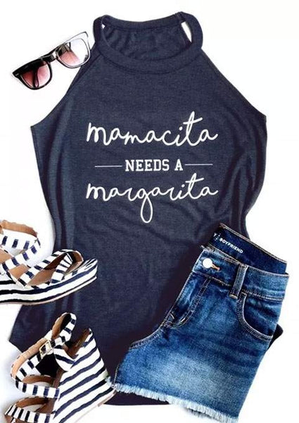 New Tank Tops Women Summer Sleeveless Mamacita mama Needs A Margarita Letter Print Tank 2018 Female Casual Vest Ladies Tops Tee - Scruffy Chic