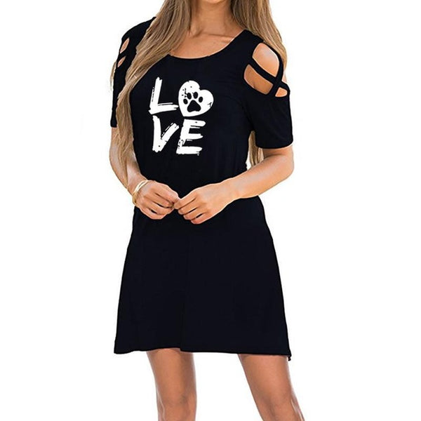 Cat Paws Cat Lover Tee Shirt Dress - Scruffy Chic