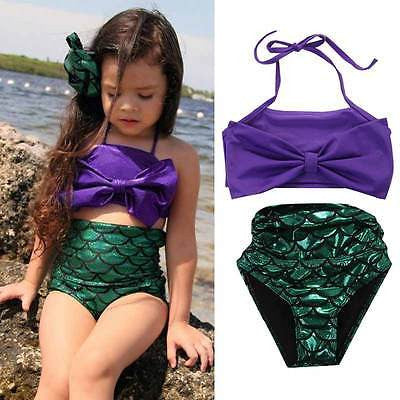 Little Girls Purple Green Mermaid Swimsuit Mermaid Bikini Kids Swimwear Bathing Suit Biquini - Scruffy Chic