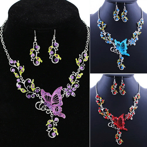 Butterfly Necklace Flower Rhinestone Pendant Necklace Earrings Jewelry Set - Scruffy Chic