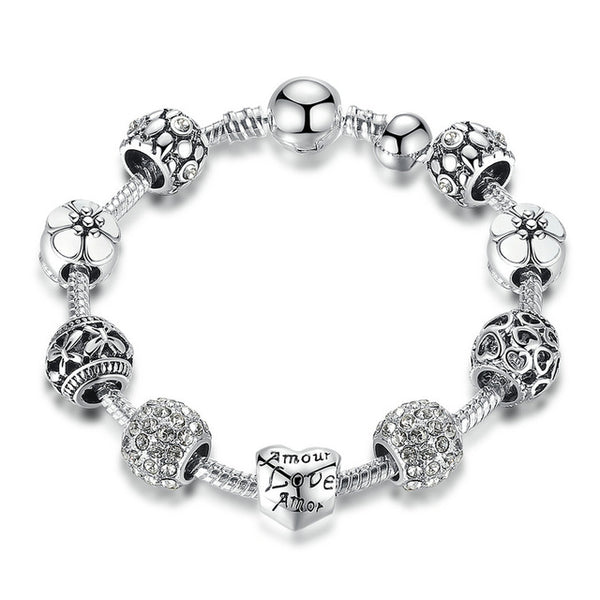 Antique Silver Charm Bracelet & Bangle with Love Flower Beads Wedding Jewelry - Scruffy Chic