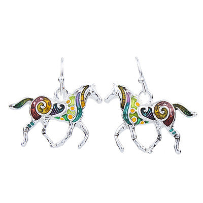 Rainbow Horse Necklace Earrings Jewelry Gift Set - Scruffy Chic