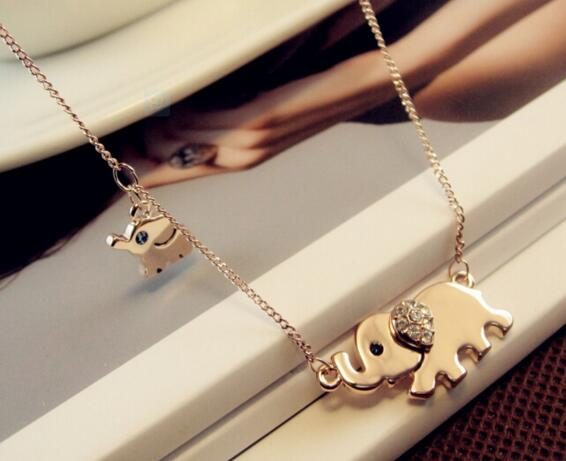 Cute Elephant Family Charming Crystal Chain Necklace - Scruffy Chic