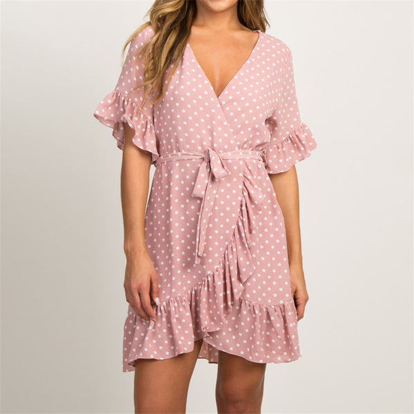 Chiffon Polka Dot V-neck Party Dress - Scruffy Chic