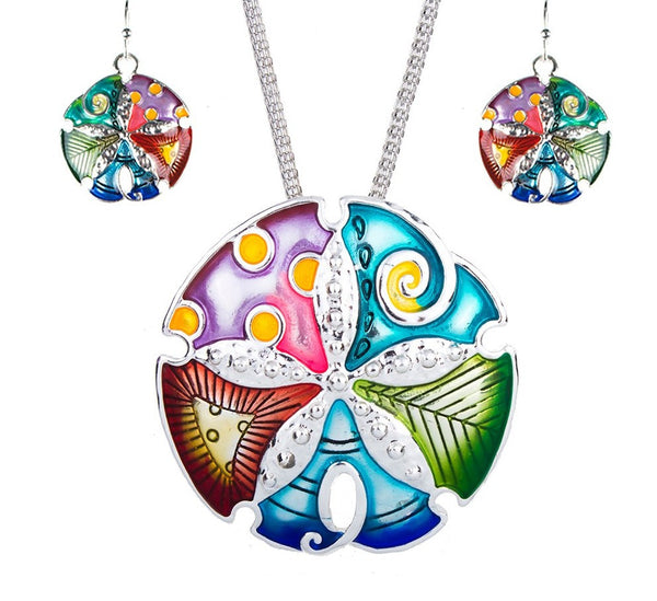 Big Colorful Enameled Sand Dollar Pendant Necklace and Earrings Set Fashion Jewelry - Scruffy Chic