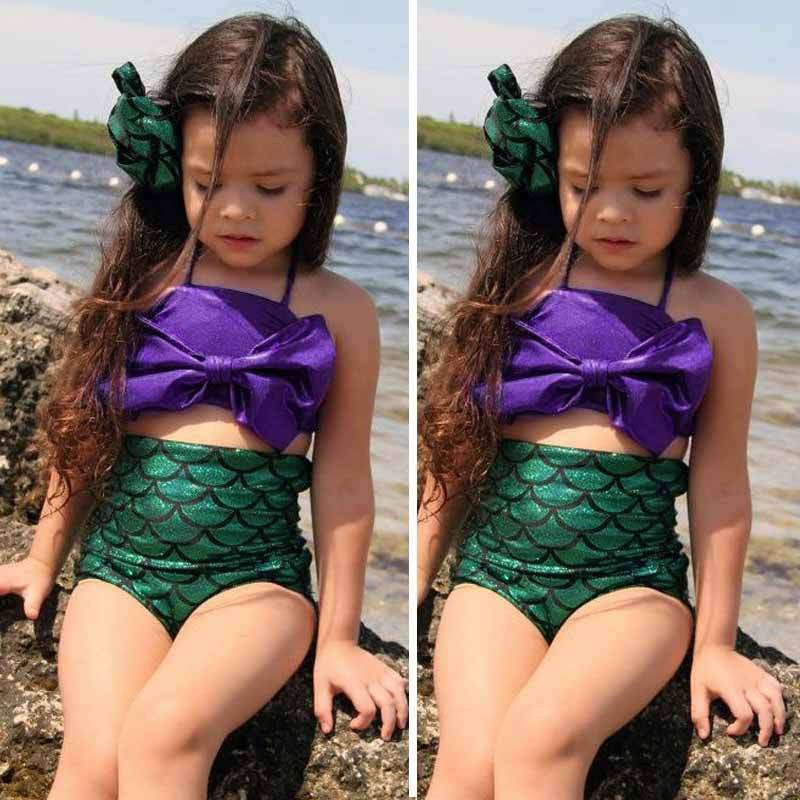 Little Girls Purple Green Mermaid Swimsuit Mermaid Bikini Kids Swimwear Bathing Suit Biquini