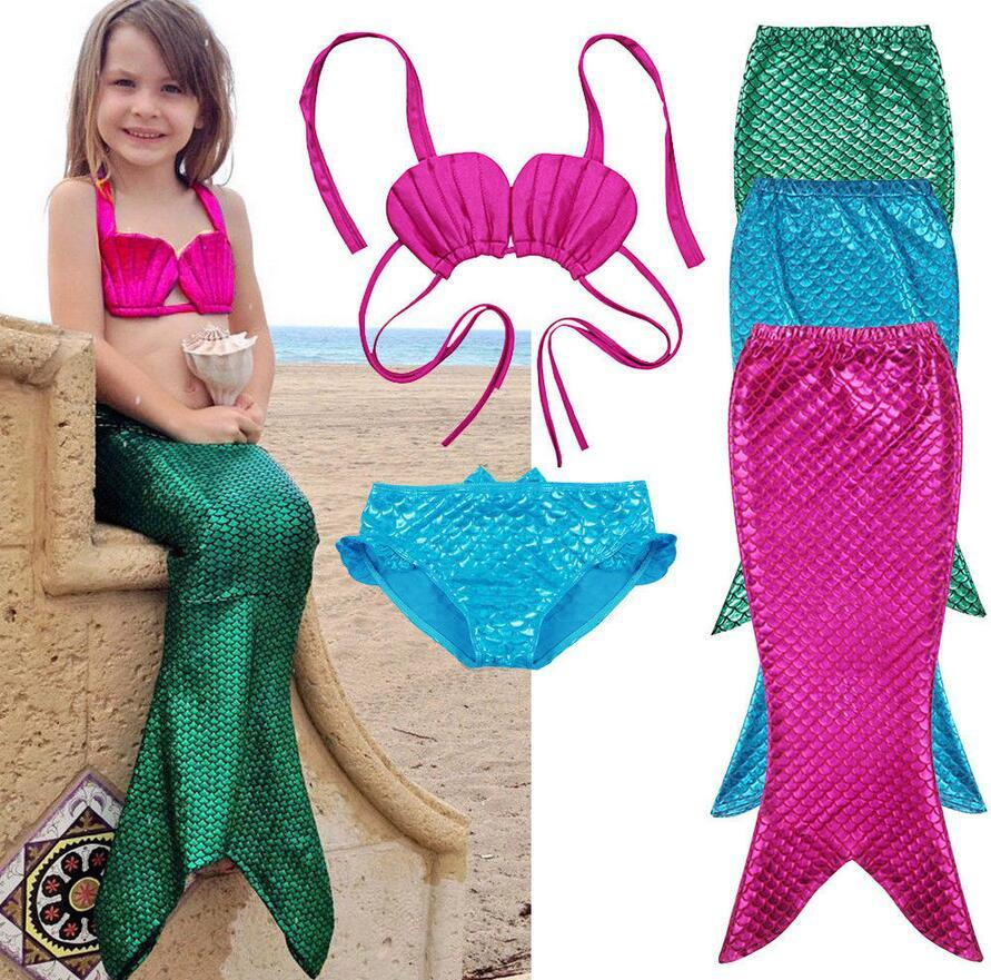 A Little Mermaid Tail Girls Swimsuit Costume Set Mermaid Dress Outfit www.scruffychicgirl.com