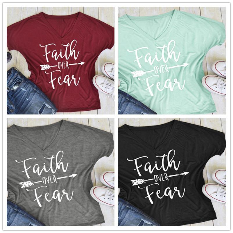 Faith over Fear T-Shirt V Neck Tee Shirt