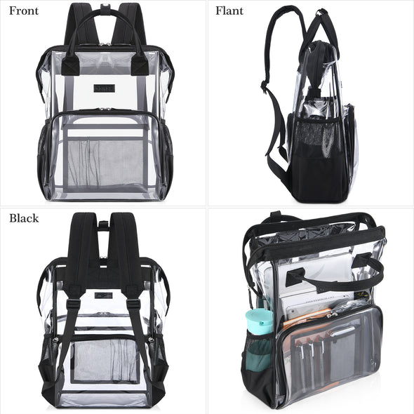 Gonex Clear Backpack with Cosmetic Bag, Transparent Backpack Fits 15.6 inch Laptop for School, Work, Travel Black