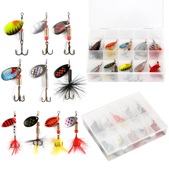 Magreel 10pcs or 16pcs Spinnerbait, Bass Trout Salmon Fishing Lures, Hard Metal Spinner Baits with a Tackle Box or Bag