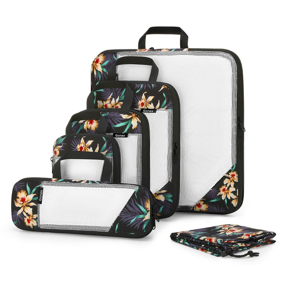 Gonex 6Pcs Printed Compression Packing Cubes Set