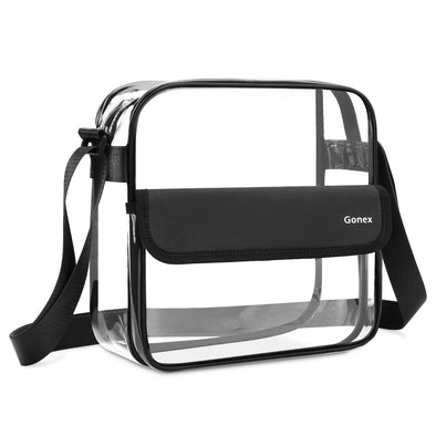 Gonex Clear Crossbody Messenger Bag, NFL Stadium Approved Transparent Shoulder Bag