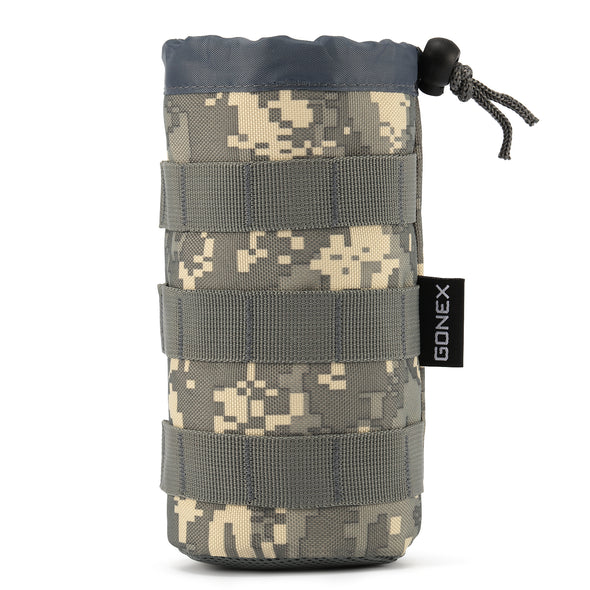 Gonex Tactical Military MOLLE Water Bottle Pouch, Drawstring Open Top & Mesh Bottom Travel Water Bottle Bag Tactical Hydration Carrier