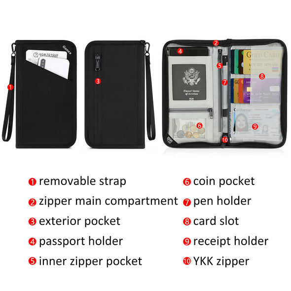 Gonex Passport holder RFID Blocking Travel Wallet with Removable Wristlet Strap for Men& Women, Water-Repellent Black