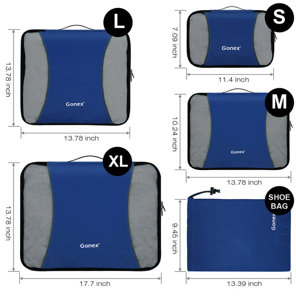 Gonex Packing Bags Set 9PCs Rip-Stop Nylon Travel Organizers