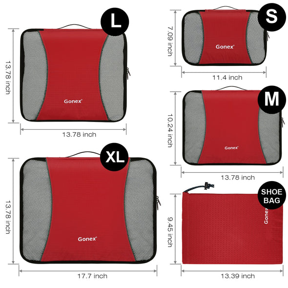 Gonex Luggage Organizers Packing Cubes 5Pcs Set