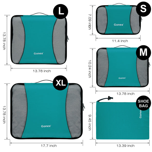Gonex Packing Cubes 5 Set(XL/L/M/S/Laundry Bag)Luggage Travel Organizers