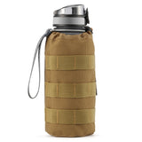 Gonex Tactical Military MOLLE Water Bottle Pouch, Drawstring Open Top & Mesh Bottom Travel Water Bottle Bag Tactical Hydration Carrier Black
